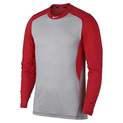 Nike Men's Long Sleeve Baseball Top Wolf Grey/University Red/White Size Large