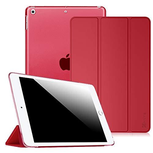 Fintie, hoes, compatibel met iPad Air 2 (2014 model), iPad Air (2013 model), ultradun, superlicht, beschermhoes met transparante achterkant met automatische slaap-waakfunctie iPad Air rood