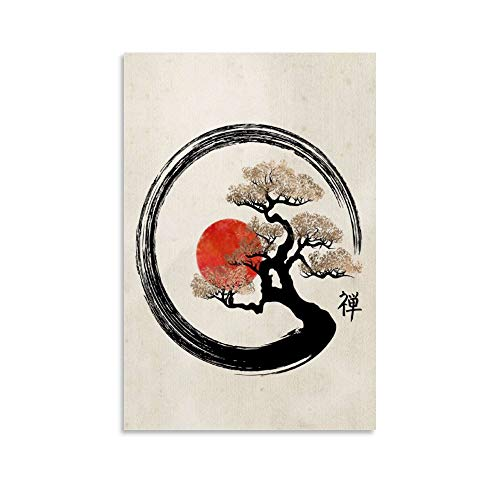 zhangxia Enso Circle and Bonsai Poster Decorative Painting Canvas Wall Art Living Room Posters Bedroom Painting 24x36inch(60x90cm)