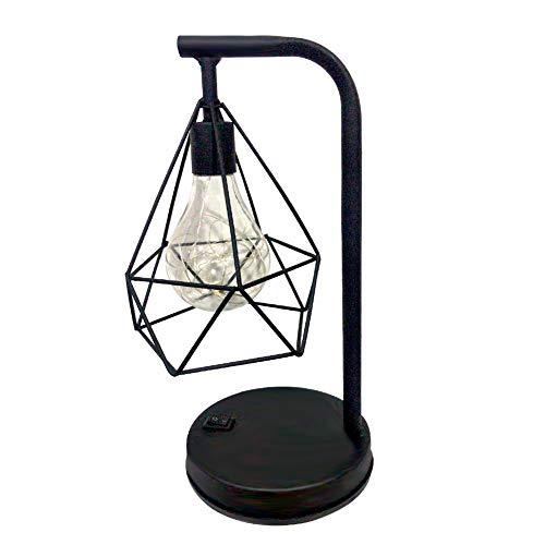 Domybest Tafellamp, decoratief, van smeedijzer, bedlamp, vintage, industriële, lampenkap van draad, nachtlampje, LED, bureaulamp, werkt op batterijen, voor slaapkamer, woonkamer, decoratie