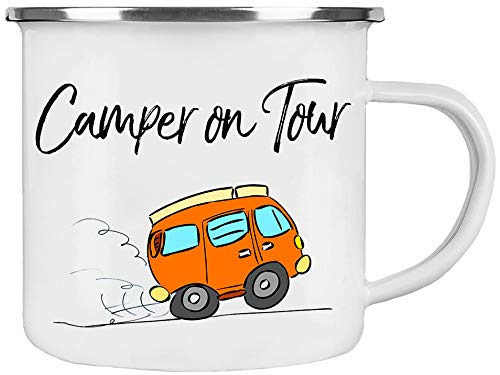 Cadouri Camping Emaille Tasse » Camper on Tour « Kaffeetasse Campingbecher Outdoortasse - 300 ml
