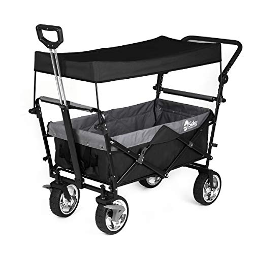Sekey Foldable Hand Garden Cart with Roof