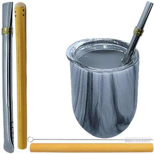 SPHERE NATURE Maté Calebasse Set 355 ml + Steel and Bamboo Bombilla Set + Bamboo Straw + Bottle Brush | Premium Argentine Yerba Mate Kit | Matcha Bowl
