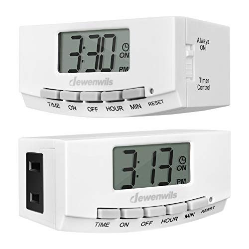 DEWENWILS Digital Outlet Timer Indoor, Plug in Electric Programmable Light Timer Switch with 1 Polarized Plug for Electrical Outlets, Grow Light,1/2 HP, UL Listed, 2 Pack