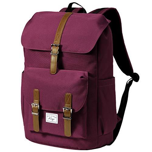 School Backpack for Women, KASGO Water Resistant 15.6 inch Laptop Rucksack Vintage Bookbag Casual Daypack for Teen Girls Men Teenagers College Travel Work Burgundy