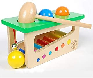 Wooden Educational Toy Colorful Wooden Ringing Bell Knocking Ball Station