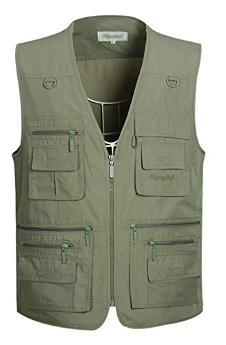 Gihuo Men's Summer Cotton Leisure Outdoor Pockets Fish Photo Journalist Vest (Large, Army Green)
