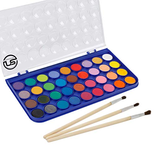 Washable Watercolor Paint Set, 36 Vivid Colors Includes Watercolour Mixing Palette Perfect for Artists, Beginner Painters, Kids and Adult Painting