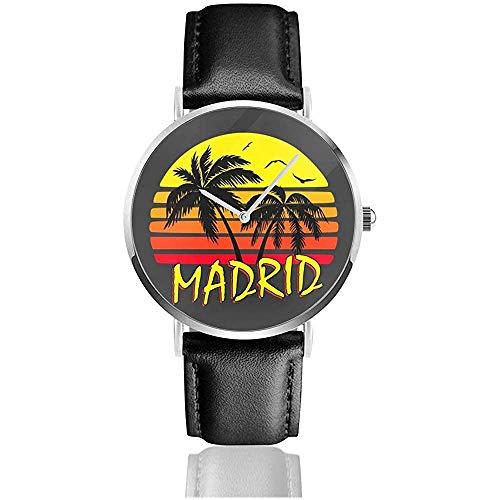 Unisex Business Casual Madrid Vintage Sun Watches Reloj de Cuero de Cuarzo