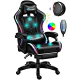 GHAOIDFH Video Gaming Chairs LED Lights, Ergonomic Office Chair, Computer Chair with Retractible Footrest Adjustment of Backrest, Full Massager Lumbar Support and Bluetooth Speaker