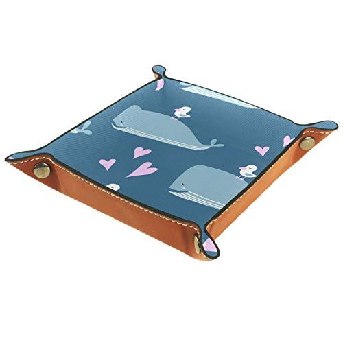 Bandeja de Cuero - Organizador - Ballena Ave Azul Océano - Práctica Caja de Almacenamiento para Carteras,Relojes,llaves,Monedas,Teléfonos Celulares y Equipos de Oficina