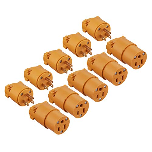 Miady 15 Amp Replacement Plug/Connector Set, 125 Volt NEMA 5-15P & 5-15R Straight Blade Plug Grounding Type/UL listed, (5 SET, Yellow)