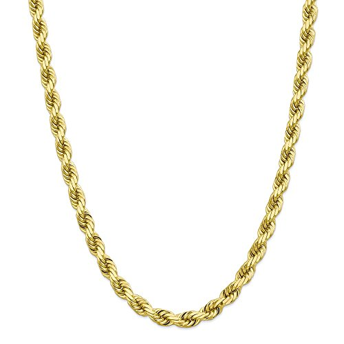 "Mia Diamonds 10k Yellow Gold 8mm High Polished Diamond-Cut Rope Necklace Chain -24"" (24in x 8mm)"