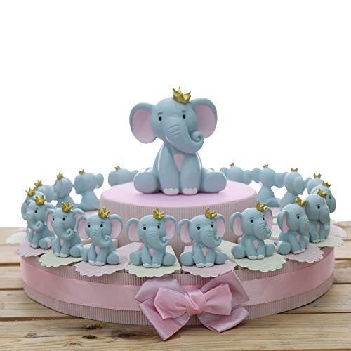 Viale Magico Elefantino Bimba Statuina con Corona Torta Bomboniere Nascita Pensierini Primo Compleanno Originali Bimba (Torta da 20 Pezzi)