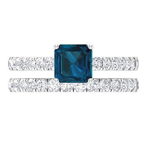 1.35 CT anillo de topacio azul Londres solitario, 1 ct D-VSSI Moissanite Eternity Band, anillo de boda oro conjunto (6 mm, 14K Oro blanco, topacio azul - london, Size:EU 60