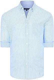 Tarocash Men's Oscar Linen Blend Stripe Shirt Regular Fit Long Sleeve Sizes XS-5XL for Going Out Smart Occasionwear