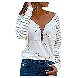 VEMOW Blusas y Camisas de Manga Larga para Mujer con Cuello en V, 2021 Moda Mujer Camiseta de Manga Larga Elegante Corazón Impreso Blusas Primavera Otoño Básico Camisa Jersey Tops(A Blanco,M)