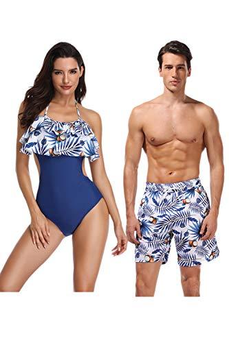 Jumojufol Women Men Couple Swimsuits Matching Swim Trunk Bikini 2 Pack Blue4 Women L/Men M