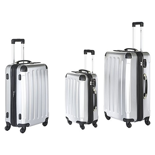 IMEX 4 Rollen Trolley Reisekoffer-Set 3tlg mit TSA-Schloss stapelbar (Silber)