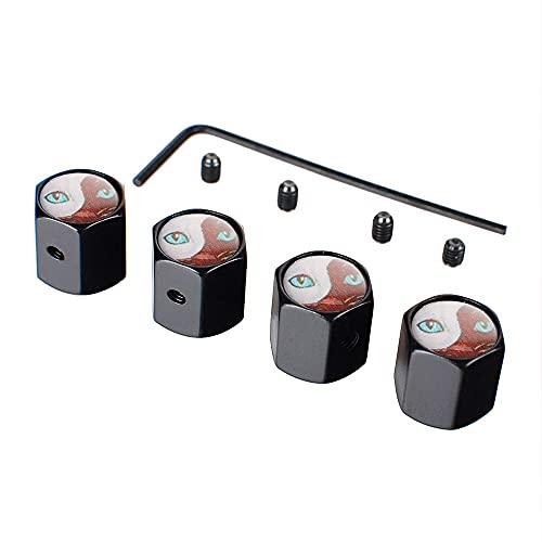 Tapa de válvula de neumático de coche Accesorios de ruedas de automóvil Capas de válvulas de neumático Cubiertas de polvo de aire compatibles con gato Ojos logo Compatible con Alfa Romeo Renault Mazda