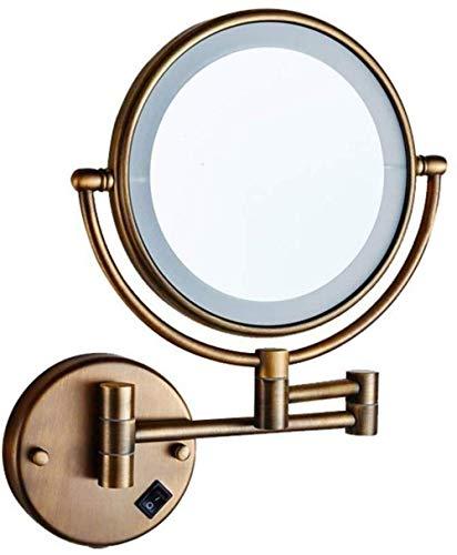 TXC- Badkamer Vergroting Dubbelzijdig Met LED Licht Schoonheid Dressing Make-up Spiegel Vouwen Muur Opknoping Telescopische Volledige Koper Riem Lamp Delicate