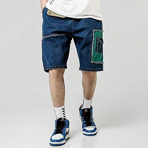 JiuRui Leisure Shorts Fashion Streetwear Summer Casual Shorts Men Patchwork Cotton Cargo Shorts Knee Length Men Short Pants (Color : Peacock Blue, Size : M)