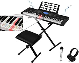 Technical Pro 61 Keys Electric Piano Learning Keyboard Bundle with Seat, Stand and Mic, 3x Learning Mode, Built In Speaker Headphone, LCD Display, LED Lights, Seat/Stand Included, USB, Wired Mic