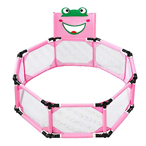 LiuliuBull W Toddler playpen Baby Playpen Children Indoor Game Fence Newborn Crawling Protection Fence Ball Pool Foldable Kids Safety (Color : Pink, Size : 1)