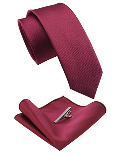 Fashion Christmas Tie Burgundy Necktie Pocket Square and Tie Clip Set with Gift Box (0959-22)
