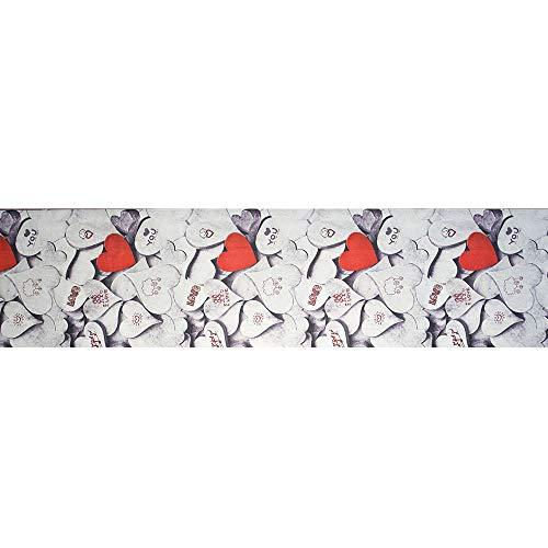 IlGruppone Tappeto passatoia Fantasia Cuori Antiscivolo Lavabile Aderente - Cuori - 50x300 cm