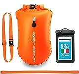 LimitlessXme Boa Gonfiabile per Nuoto Arancione & Sacca stagna incl. Custodia per Il Cellulare – Sicurezza Durante Il Nuoto, in acque libere e per Il Triathlon. Boa Galleggiante, Swim Buoy Bubble