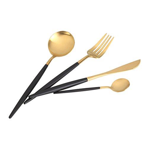 Juego de cubiertos de 4 piezas de acero inoxidable para mesa, cubertería de acero inoxidable Acogedor de acero inoxidable con cuchillo, cuchara, tenedor, servicio para 4 Negro y dorado.