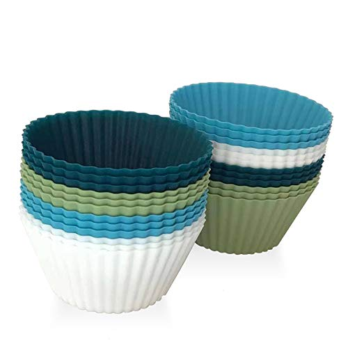 Silicone Cupcake Baking Cups 24 Pack Reusable Baking Cups Non-stick Silicone Cupcake Liners Muffins Cup Molds for Birthday Party Supplies Halloween Christmas