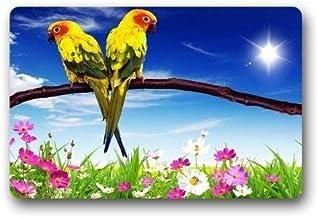 ZMvise Rubber Custom Washable Door Mat Parrots Flowers Doormat 18 x 30 inch