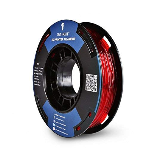 SainSmart Small Spool, 1.75 mm, Thermoplastic Polyurethane (TPU), Flexible 3D Filament, 250 g, Accuracy +/- 0.05 mm, Shore 95A, Red