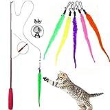 FayTun Juguetes de pluma de gato, juego de juguetes de cuerda colorida interactiva, juego de 5 piezas de tres secciones telescópicas retráctiles para gatos