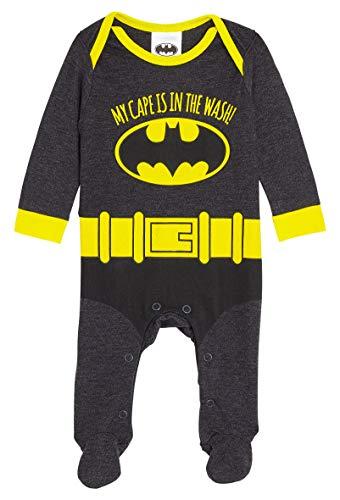 DC Comics Batman Strampler Junge, Baby Body Langarm Schlafanzug mit Füße, Baby Strampler Jungen, Lustige Kleidung für Neugeborenen bis 18 Monate, Neugeborenen Geschenk (6-9 Monate)