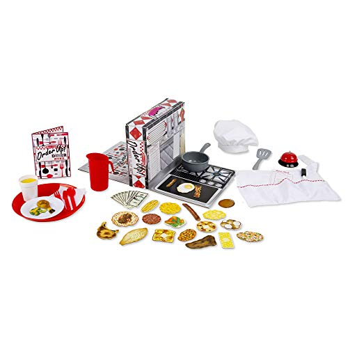 Melissa & Doug Order Up! Diner Play Set With Play Food (53 Pieces, Great Gift for Girls and Boys – Best for 3, 4, 5, 6 and 7 Year Olds), 885336529636, Multi