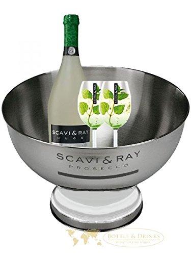 Scavi & Ray Hugo Champagnerkühler Edelstahl + 2 Gläser + Scavi & Ray Hugo 0,7 Liter