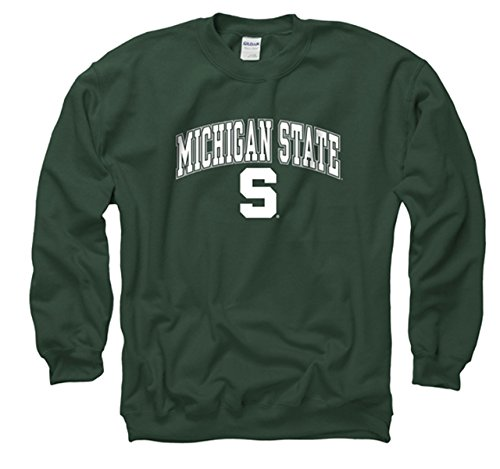 Campus Colors NCAA Adult Arch & Logo Gameday Crewneck Sweatshirt covid 19 (Michigan State Spartans Green coronavirus)