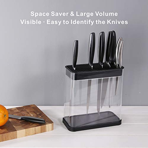 Universal XL Knife Block Holder - Detach for Easy Cleaning - Extra Slots for Scissors and Sharpening Rod - For Safe, Space Saver Knife Storage With Clear Barrel - Unique Slot Design to Protect Blades