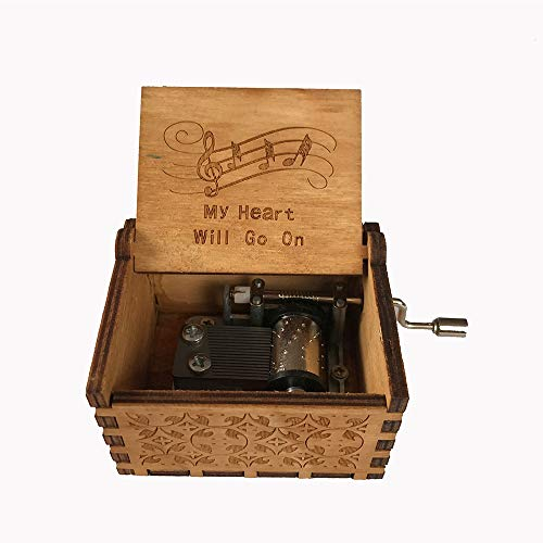 MINGZE Caja de música de Madera manivela, Pure Hand-Classical Music Box Hand-Wooden Music Box Creative Wooden Crafts Best Gifts, Variedad de Estilos (Titanic)
