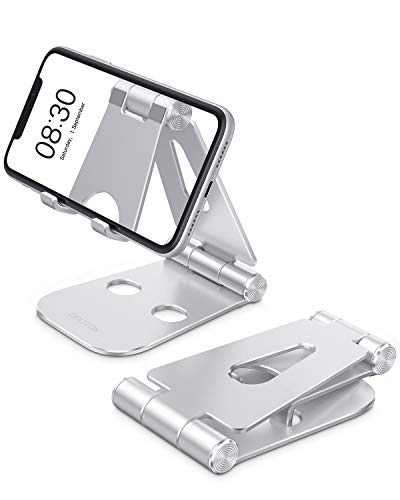 "Foldable Cell Phone Stand, OMOTON C4 Portable Aluminum Phone Holder, Adjustable Phone Dock Cradle Compatible with iPhone, iPad (7.9-10.2""), Samsung Galaxy, Ebook Reader and More, Silver"