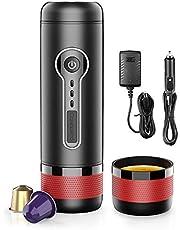 Conqueco Draagbare Koffiezetapparaat, Elektrische 12V espressomachine voor in de auto outdoor, 15 Bar druk, Compatibel met Nespresso Original capsule & L'OR