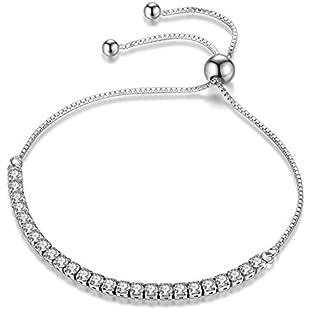 JDGEMSTONE Adjustable Bracelet Swarovski Crystals Jewellery for Women Anniversary Birthday Girl Girlfriend Wife Daughter Mom Friend Silver Tone 925 Sterling Silver Coupon Bangle:Lidl-pl