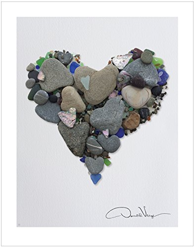 Love- Heart Stones & Sea Glass Heart Poster Print. 11x14 Great for Framing. Best Quality Gift from The Heart Collection. Unique Birthday, Christmas & Valentines Day Gifts for Kids, Women & Men