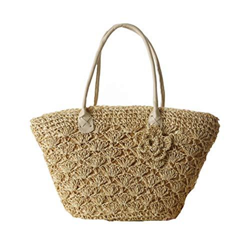 Ouuager-Home Hnbag van stro, dames, schoudertas, geweven, stro, haken, bloemen, zomer, strandtas, strandtas