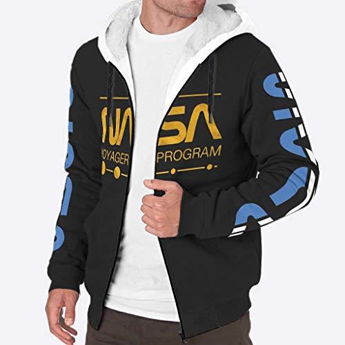 YxueSond Heren Rits Hoodie Jas Winter Dik Fleece NASA Jassen