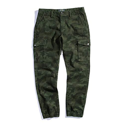 Katenyl Pantalones Ajustados de Camuflaje con pies de Haz para Hombre, Tendencia de Personalidad, Estiramiento, Ocio, Todo fósforo, Pantalones de Trabajo de Combate al Aire Libre 31