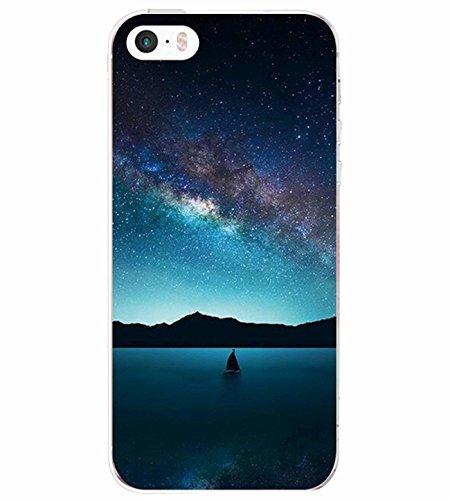 AIsoar iPhone SE iPhone 5 Apple iPhone 5S Custodia Panda Marmo Cane Ragazza Transparente Silicone Cover TPU Gel Protettivo Anti-Scratch Skin Shell Case per Apple iPhone SE 5 5S (Cielo Stellato)